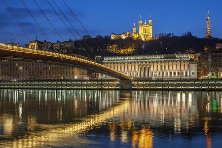 View of Saone river at Lyon by night, France