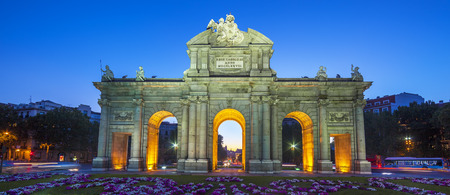 View of famous Puerta de Alcala at sunset, Madrid, Spain photo