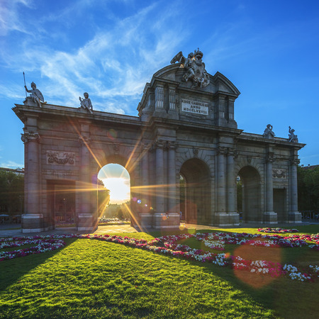 The famous Puerta de Alcala at sunset, Madrid, Spain photo