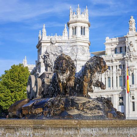 cibeles: Famous Cibeles Palace and fountain, Madrid, Spain