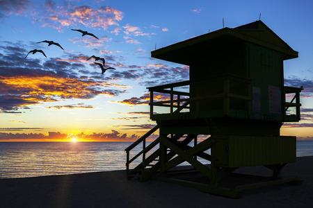 lifeguard tower: Miami South Beach and lifeguard tower at sunrise, USA Stock Photo