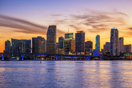 Famous cIty of Miami, Florida, summer sunset Banque d'images