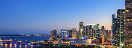 Panoramic view of Miami, Florida, summer sunset photo