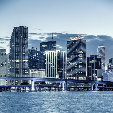 CIty of Miami Florida, business and residential buildings and bridge on Biscayne Bay