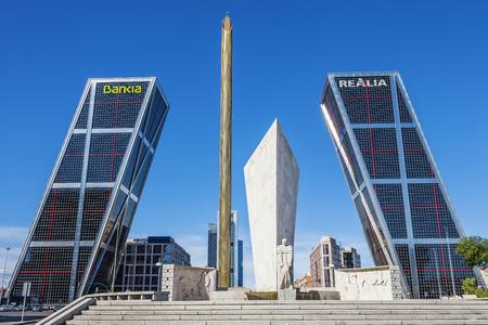 castellana: Madrid, Spain - September 21, 2013: La Puerta de Europa known as Torres KIO (KIO Towers) at Paseo de la Castellana.   Editorial