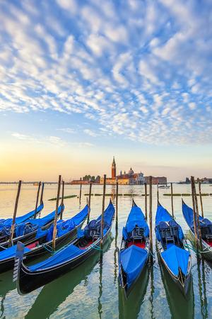st mark's square: San Giorgio Maggiore church and gondolas in Venice - Italy