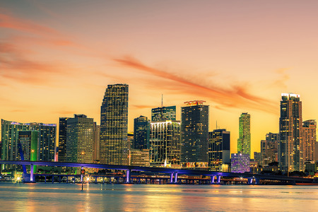 Famous cIty of Miami, Florida, USA, summer sunset photo