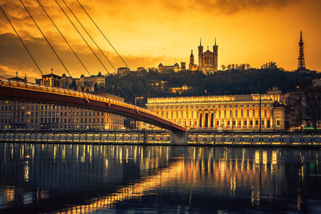 View of Saone river at sunset,Lyon, France. 스톡 콘텐츠