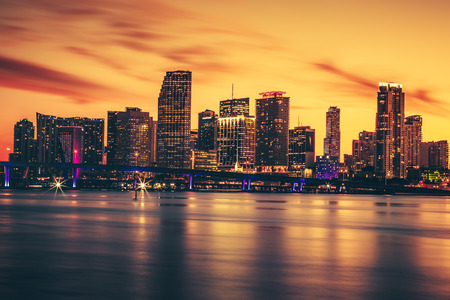 city of miami: CIty of Miami at sunset, USA Stock Photo