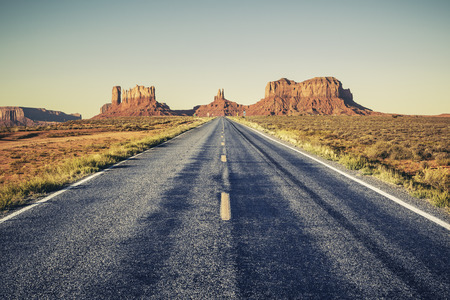 Long road to Monument Valley, USA Stock Photo - 30723038
