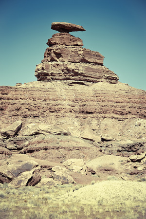 sedimentary: The Mexican Hat rock formation, Utah, USA