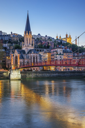 Vertical view of Lyon with Saone river at night