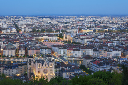 View of Lyon city from Fourviere at night, France  Banque d'images
