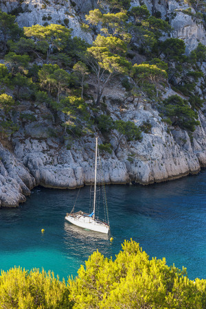 azure coast: Calanques of Port Pin with boat, Cassis, France