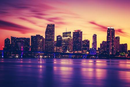 miami sunset: View of Miami at sunset, special photographic processing, USA