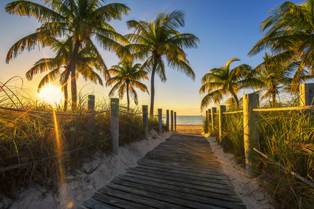 Passage to the beach at sunrise- Key West, USA photo
