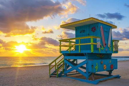 miami south beach: Miami South Beach at sunrise, USA Editorial