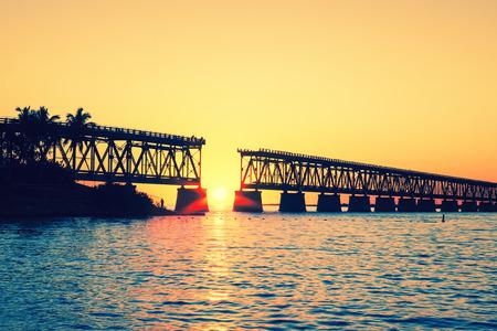 Zonsondergang met beroemde kapotte brug, Key West