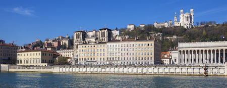 historic site: Panoramic view of Lyon with Saone river, France.