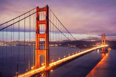west gate: The Golden Gate Bridge by night, San Francisco, USA. Stock Photo