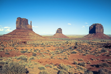 monument valley view: View of Monument valley under the blue sky, USA