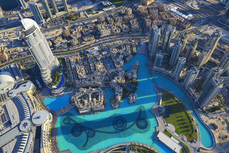 dubai mall: View of Dubai city from the top of a tower.