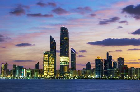 abu dhabi: Abu Dhabi Skyline at sunset, United Arab Emirates
