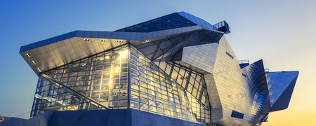 LYON, FRANCE, DECEMBER 22, 2014 : Musee des Confluences. Musee des Confluences is located at the confluence of the Rhone and the Saone rivers.