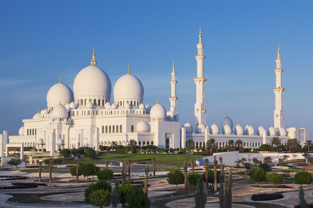 Famous Sheikh Zayed Grand Mosque, Abu Dhabi, UAE 版權商用圖片