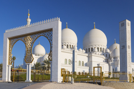 Beautiful view of Sheikh Zayed Grand Mosque, UAE Stock Photo