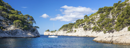 Calanques of Port Pin, panoramic view,  Cassis, France photo