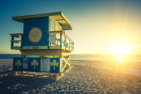 south beach: Miami South Beach sunrise with lifeguard tower Stock Photo