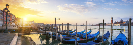 venice canal: Sunrise over the Gran Canal, panoramic view, Venice, Italy