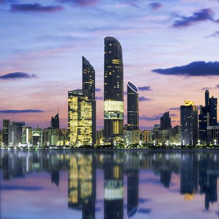 Abu Dhabi Skyline at sunset, United Arab Emirates