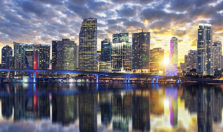 miami sunset: View of Miami buildings at sunset, USA Stock Photo