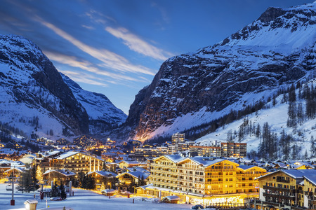 france: Evening landscape and ski resort in French Alps, Val dIsere, France Stock Photo