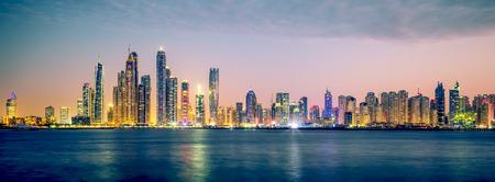 Panoramic view of Dubai, special photographic processing, UAE.
