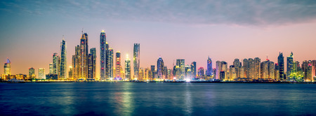 Panoramic view of Dubai, special photographic processing, UAE.