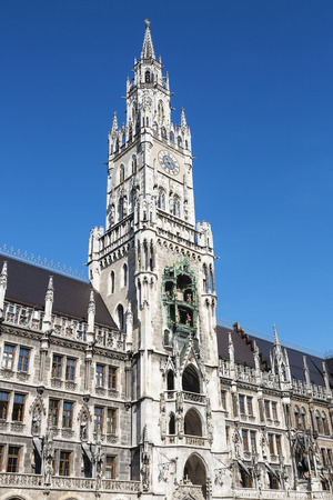 spires: Medieval Town Hall building with spires Munich Germany. Stock Photo