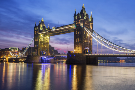 great britain: Famous Tower Bridge in the evening, London, England
