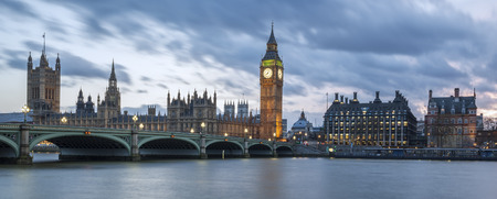 Big Ben and House of Parliament at Night, London, panoramic view. Editorial