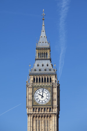 victorian architecture: View of Big Ben with blue sky