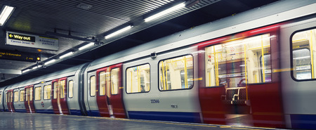 railway transports: Inside view of London underground Editorial