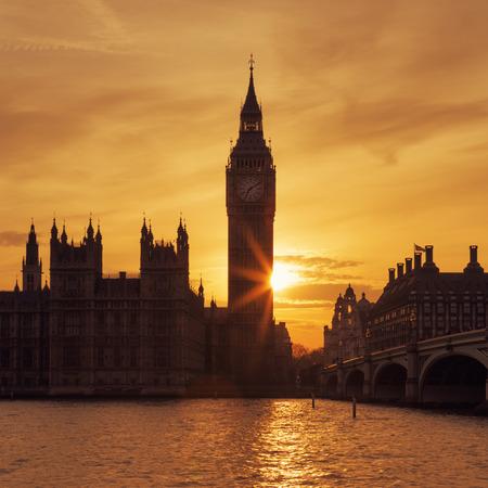 england politics: Big Ben clock tower in London at sunset, UK.