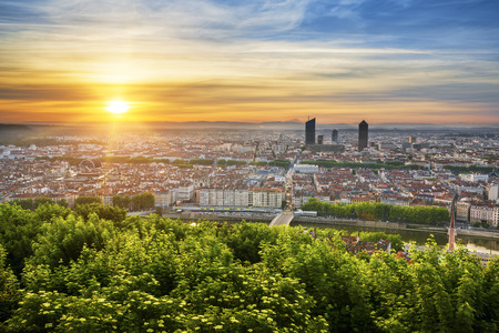 View of Lyon at sunrise, France. Stock Photo