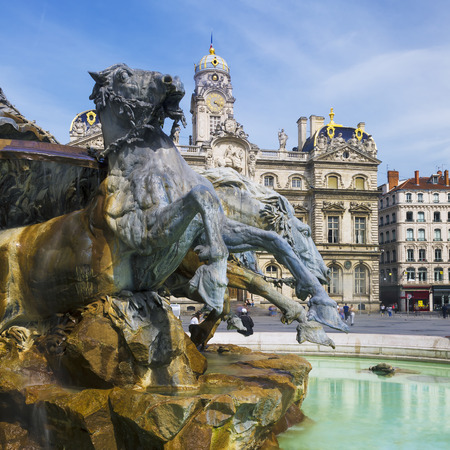 Famous Bartholdi Fountain in Lyon, France