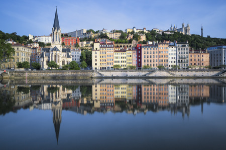 france: Beautiful view of Saone river in Lyon, France Stock Photo