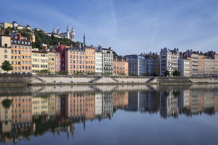 lyon: Saone river and reflection, Lyon, France