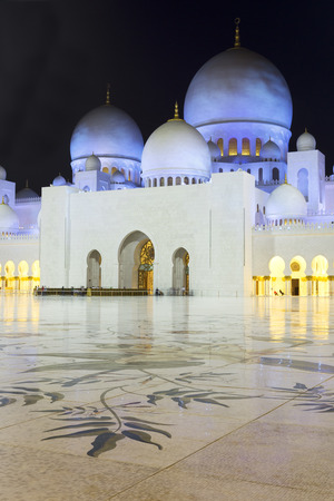 persian gulf: In the famous Abu Dhabi Sheikh Zayed Mosque by night, UAE. Stock Photo