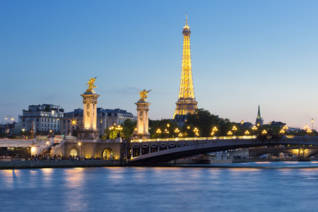 Eiffel Tower and Pont Alexandre III  by night, Paris.